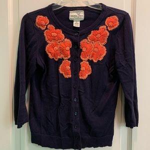 Anthropologie Sweaters - Anthropologie Tabitha Firebloom navy cardigan s